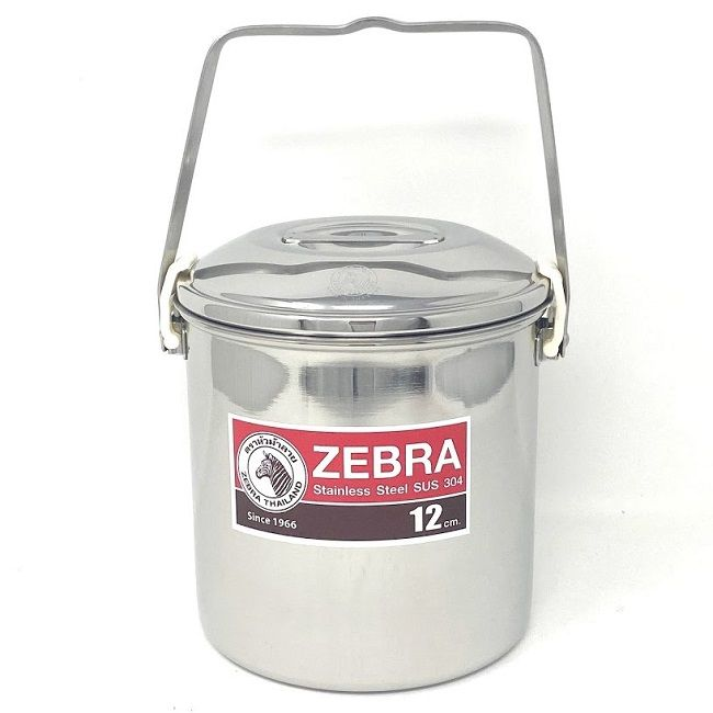 Zebra Billy Can Stainless Steel 12cm - Auto Lock Lid