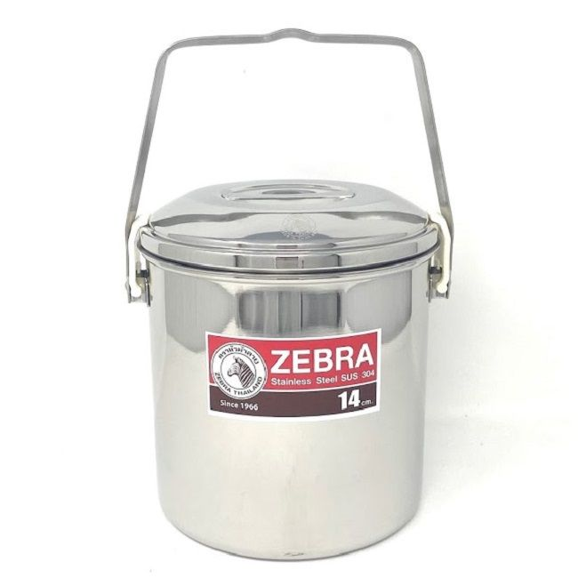 Zebra Billy Can Tin Stainless Steel 14cm - Auto Lock Lid